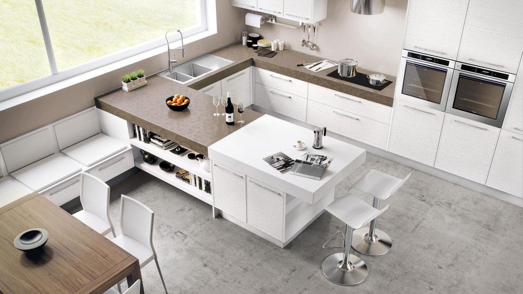 Italienische Designküche Cucine Lube Modell Adele Ansicht von oben.