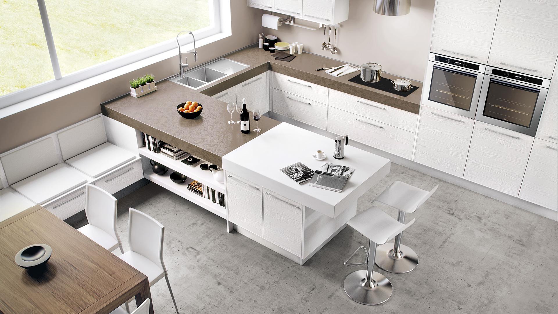 Cucine Lube Küche Modell Adele Ansicht von oben