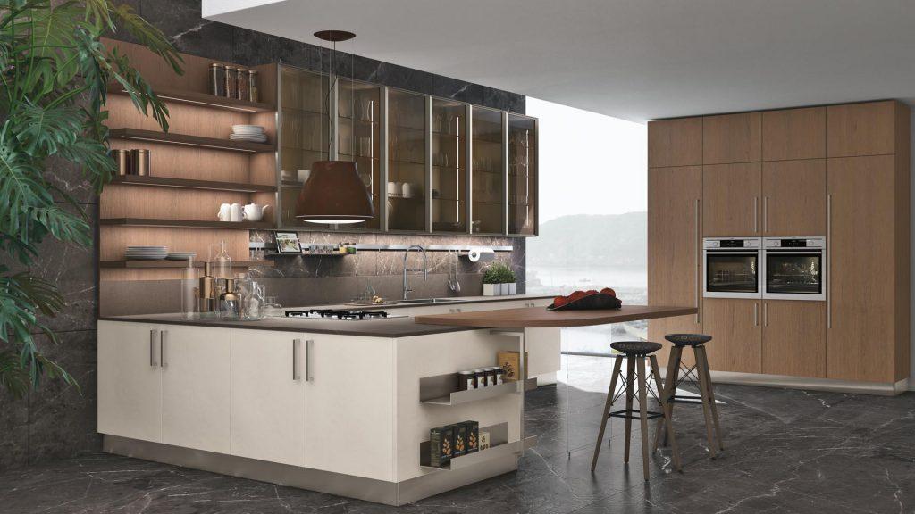Italienische Designküche Cucine Lube Modell Clover furniert tobacco Eiche, Titan Aluminium Glasrahmen.