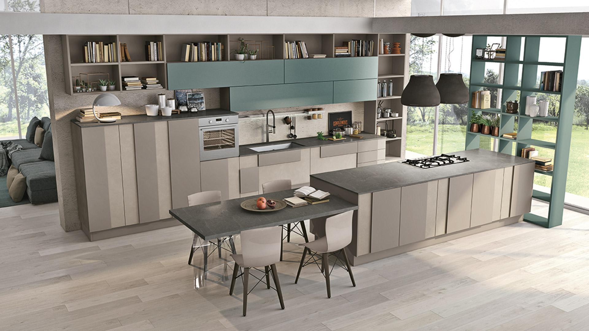 Cucine Lube Modell Creativa, Küchenfronten in Melamine matt Seide mit positanogrünen Akzenten.