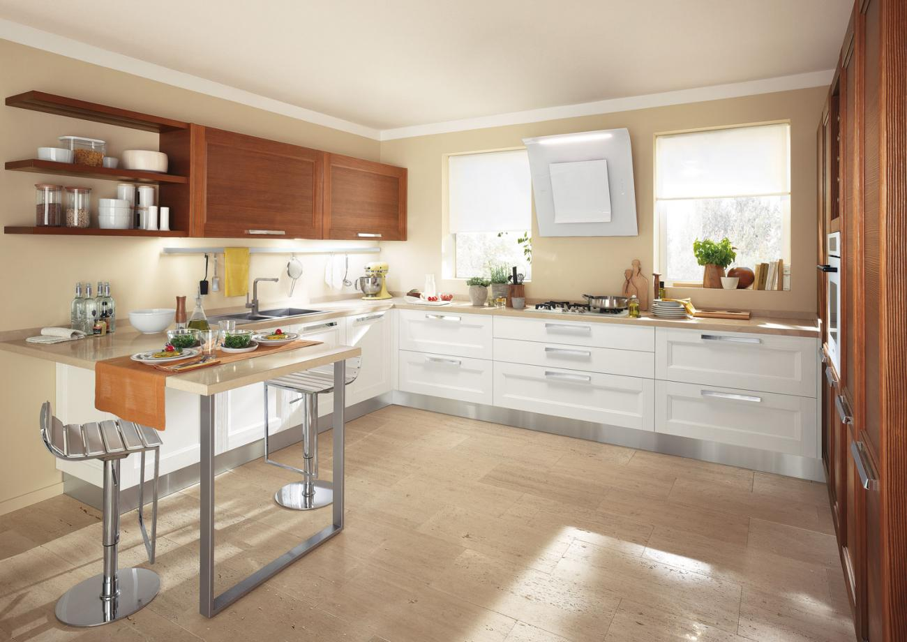Cucine Lube Modell Georgia. Küche in weiß. Oberschränke furniert.