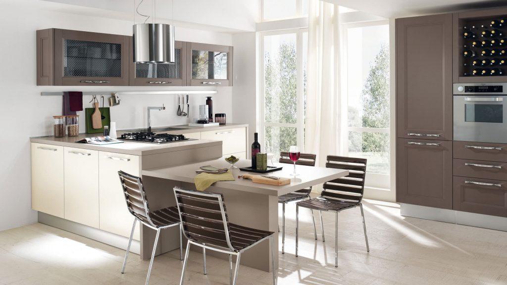 italienische Designerküche Cucine Lube Modell Georgia. Weiß und grau.
