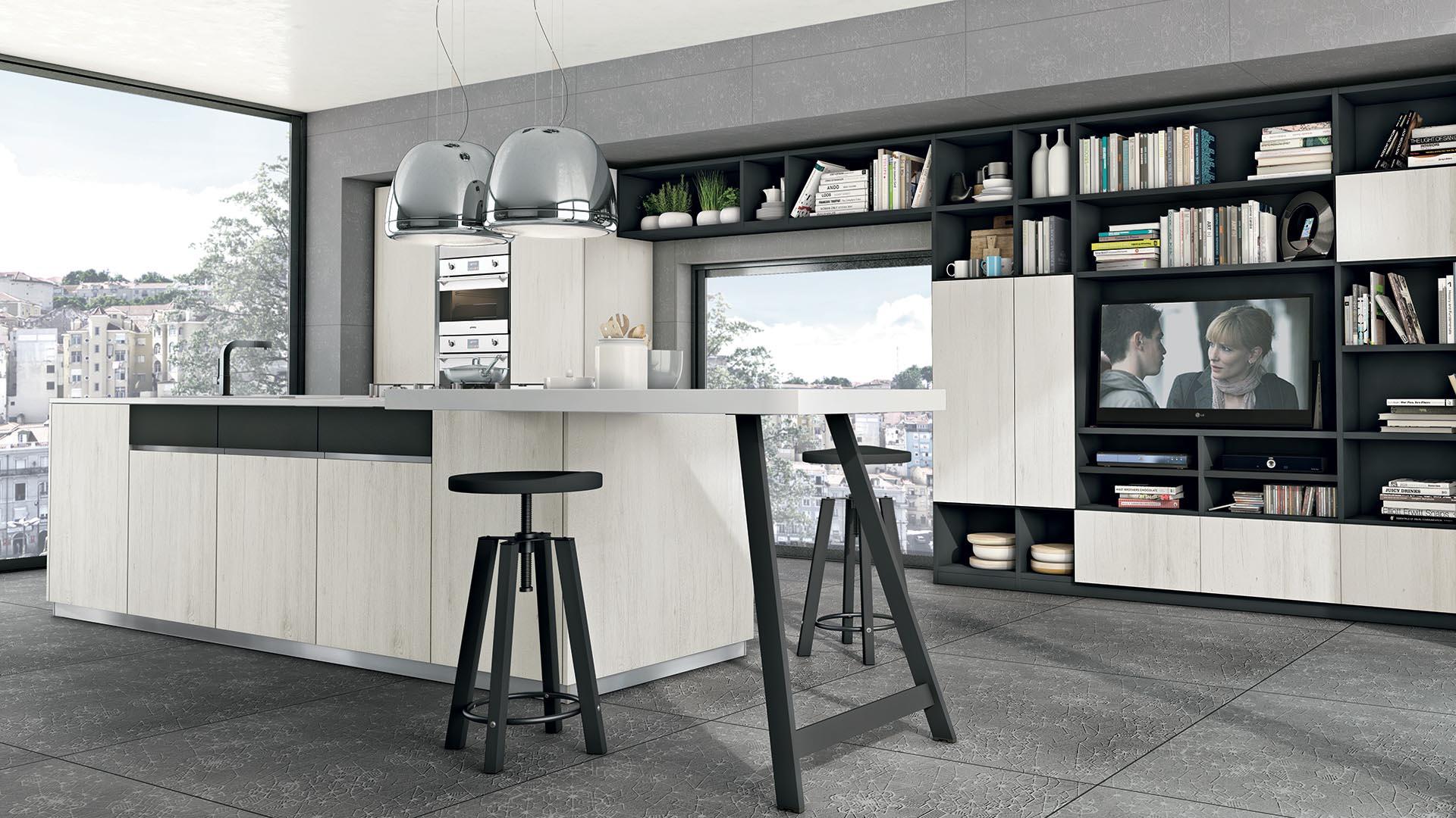 Cucine Lube Modell Immagina Plus. Weiße Küche furniert mit Wohnzimmerelementen.