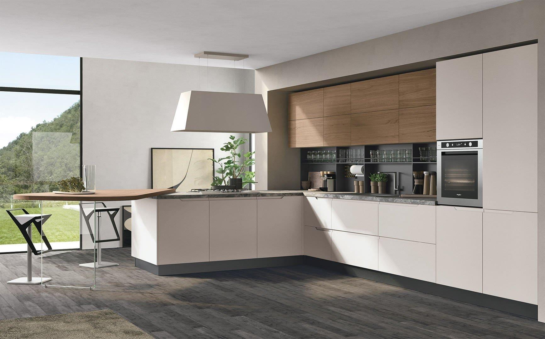 Cucine Lube Modell Luna. Küche mit Luna typischen Fronten.