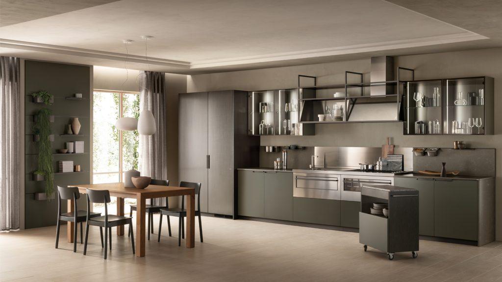 Küche von Scavolini mit dunkelgrünen und grauen Fronten
