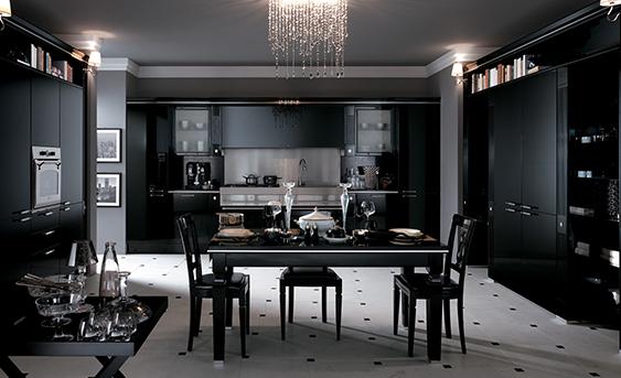 Scavolini Küche Baccarat in schwarz. Klassisches Modell.